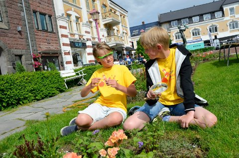 FOR ANDRE GANG: 11-åringene Diderik Rønning Bøe (t.v.) og Henrik Røgenes Nelson skal undersøke spennende mineraler og forske på morsomme kjemiske reaksjoner på Forskerfabrikkens Sommerskole.