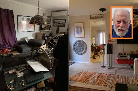 FUNNET DØD: Knut Arild Winther (innfelt) ble funnet død i sin leilighet på Framnes i juli i fjor. Til høyre ses leiligheten slik Winther likte å ha det, til venstre slik leiligheten så ut da han ble funnet død.