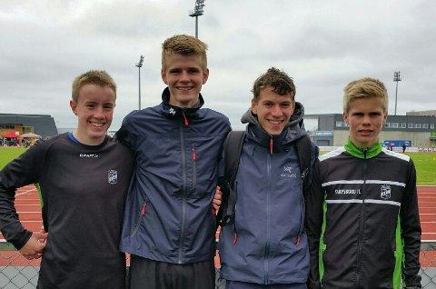 GODE: SILs distanseløpere markerte seg under årets Ungdomsmesterskap i friidrett. Fra venstre Marcus Dahl-Rismyhr, Sindre Fredriksen, Sondre Rishøi og Benjamin Olsen.