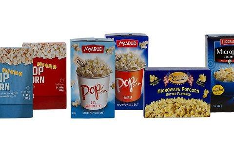 På verstinglista er popcorn fra Coop, Eldorado og Maarud. Førstnevnte endrer emballasjen på sitt produkt.