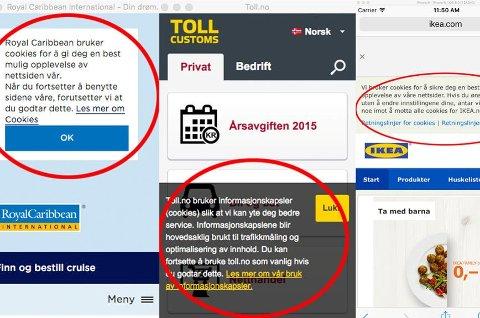 *** Local Caption *** Mange norske nettsteder bruker mye mer plass på advarsler om informasjonskapsler enn det de er forpliktet til.