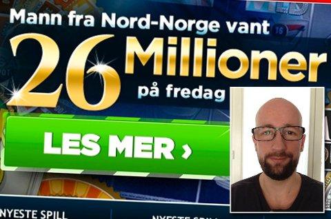 Norskeautomater og Allan Bjerkan feirer jackpot-vinneren på sine nettsider. (Foto: Skjermdump norskeautomater.com/privat/ANB)