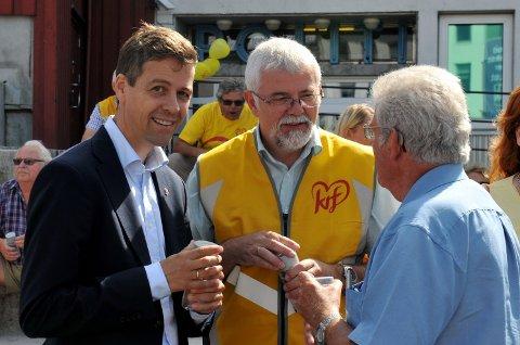 Knut Arild Hareide vant valgkampen. Her fra starten  av valgkampen i Arendal.