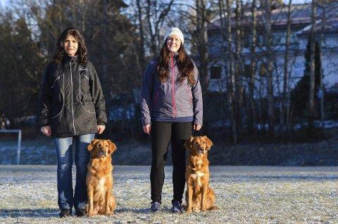 GANSKE LIKE: Inger Marie Buer (til venstre) sammen med Ella og Jeanett Heggelund med sin Dilla. NRK godkjente at de to hundene delte på rollen som hunden Radka i vinterens store tv-drama på statskanalen.