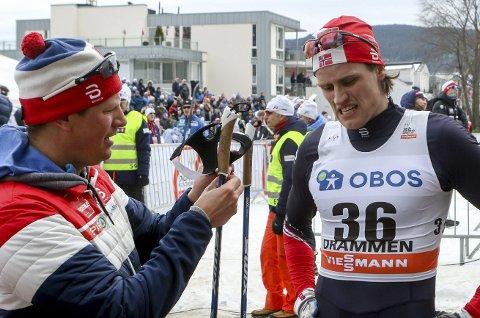 VENTER: Trener Lars Christian Aabol venter fortsatt stor framgang av Sindre Odberg Palm. I Drammen i går ble han slått ut i prologen. Noe av årsaken skyldes sykdom i forkant av løpet.