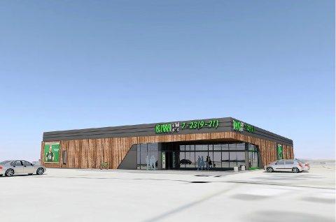 NY BUTIKK: Bildet viser fasaden og inngangspartiet til den nye Kiwi-butikken.
