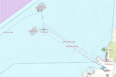 KART: De to områdene som er aktuelle for steinlegging omfatter samlet areal på nærmere 12.000 kvadratmeter. (Kart fra søknaden til TAC)