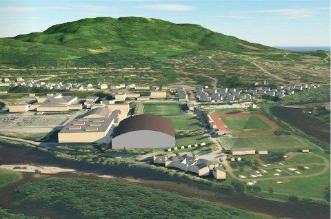 Denne illustrasjonen fra Norconsult viser omtrentlig plassering av fotballhallen på Guldbergaunet.