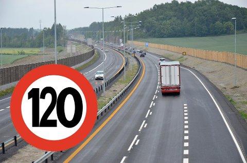 120? På flere strekninger på E18 gjennom Vestfold kan hastigheten bli hevet til 120 kilometer i timen. Fotomontasje: Henrik Ulrichsen