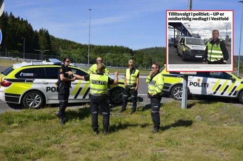 LEVER FORTSATT FARLIG: Råkjørerne lever fortsatt farlig på veiene i Vestfold, selv om de lokale UP-mannskapene er satt til grensekontroll. Her fra en laserkontroll på E18 i fjor sommer.