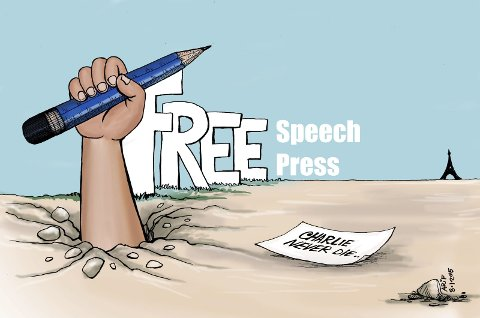 Karikaturtegner: Arifur Rahman ble fengslet for en tegneseriestripe om «Muhammed Cat» i hjemlandet Bangladesh, og er en av flere fribytegnere tilknyttet miljøet og Avis Tegnernes Hus i Drøbak. Her er en av hans mange karikaturtegninger om ytringsfrihet.