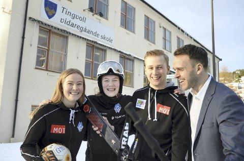 Heier på Tingvoll: Kristin Bergslid (fra venstre), Eirin Bang Gjul, Harald Lund Johansen og rektor Øystein Bråthen har stor tro på den nye randonee-linja som starter opp på Tingvoll vidaregåande skole.