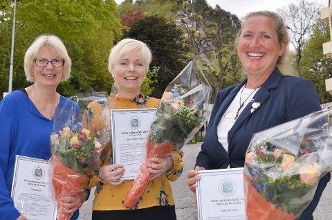 Gro Birkeland (fra venstre), Monica Storborg Sæbønes og Inger Lise Lervik fikk heder av Norsk Sykepleierforbund.