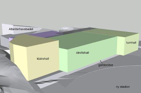 Slik kan det bli: Dette er en skisse som viser hvordan ny idrettshall, klatrehall og turnhall vil plassere seg i Folkeparken hvis det nye bystyret i Kristiansund sier ja til å gå videre med planene.
