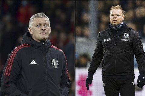 Tapere: Ole Gunnar Solskjær og Christian Michelsen hadde en tung dag på jobben søndag. Begge fikk se sitt eget lag tape på hjemmebane.