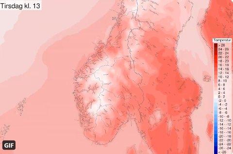 VARMT: Kartet viser at temperaturene på Nordmøre vil komme opp på 20-tallet, tirsdag.