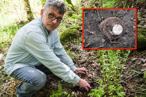 FANT: Nok en gang har Alexander Poosz fra Falkensten funnet et krigsminne i bakken, denne gangen på Langgrunn. Forsvaret tror at det er en ufarlig øvelsesgranat.