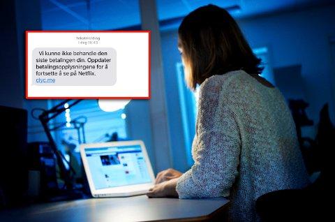 IKKE TRYKK: Får du en slik SMS, så ikke trykk på linken. Illustrasjonsfoto: Bjørnar K. Bekkevard