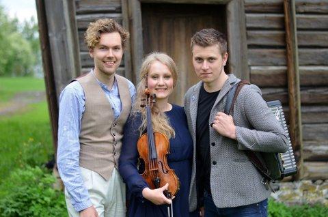 HAGEKONSERT: Fredholms trio spiller og synger glade sanger på Skallevold.