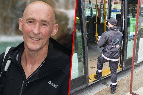 UTRIVELIG: Eldar Dybvik synes det har blitt utrivelig å kjøre buss etter at busselskapet leide inn vektere.