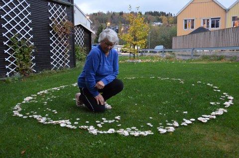 RING AV SOPP: Solveig Rosø har en heksering, en ring av sopp, i hagen sin på Guldbergaunet.  – Det er mange som stopper opp og ser på den når de går forbi. De synes nok den er litt spesiell, sier hun.