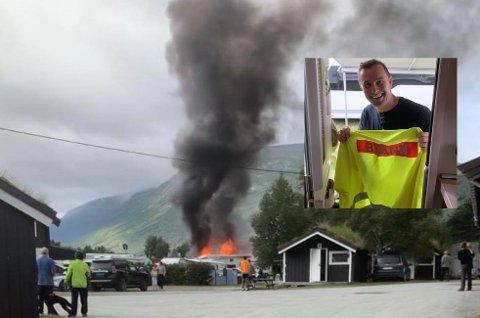 DRAMATISK: En campingvogn begynte å brenne på Granmo camping i Oppdal tirsdag morgen. Brannen spredte seg til to andre vogner. Håvard Knygh (innfelt) var blant flere som hjalp til før nødetatene kom.