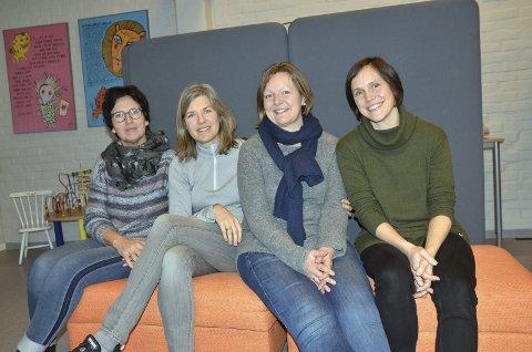 Er fire, blir enda flere: Ledende helsesykepleier Ellen T. Lyngen (f.v.) sammen med helsesykepleierne Hanne Alstergren, Ragnhild Leirdal Nyhagen og Hanne-Norunn Enstad Enger. De har hovedkontoret i Familiens Hus på Fagernes, men har også kontorer både på Nord-Aurdal barneskole og Nord-Aurdal ungdomsskole.