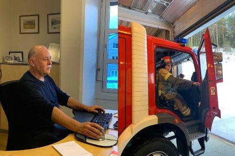 Fra Stein Tore hørte alarmen ved pulten på jobb til han var fremme på Asko med røykdykkerne tok det 11 minutter og 47 sekunder. Foto:privat