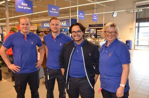 Leira: Ola Dahl Waagaard fra Begnadalen (f.v.), Marius Renna, daglig leder Jon Erik Rogne og Turid Enger Gottenborg var fornøyde med ombygginga i vår. Nå kan de smile over stor økning i omsetning.