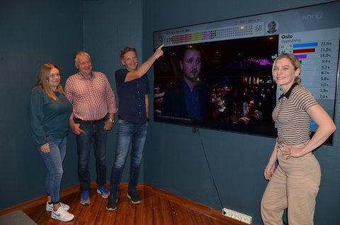 Jubel: Anne Svendsen Hovrud (f.v.), Jan Stundal, Håvard Halvorsen og Kaja Enger i Nord-Aurdal Arbeiderparti var veldig fornøyde med resultatet da 65 prosent av stemmene var talt opp.