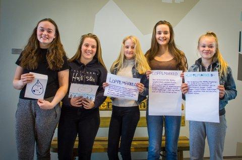På bildet: Marie Fagerheim Johnson (13), Mariell Sundsten (13), Martine Gjønnes (13), Kamilla Sørensen (13) og Sofie Charlotte Funner (13).