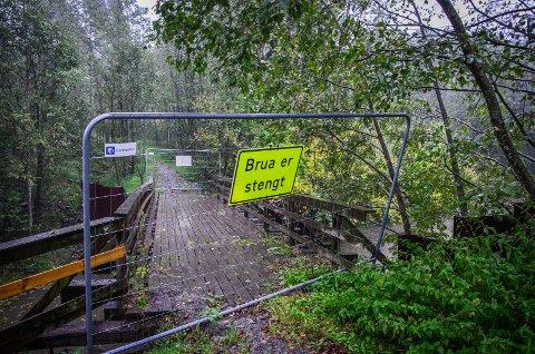 MÅ FJERNES: Turveibroen over Såna syd for Hølen må fjernes på grunn av fare for jordras.