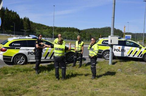 Politiet blir synlig langs hovedveiene neste uke. Her fra Skykrysset på E18 i Larvik.