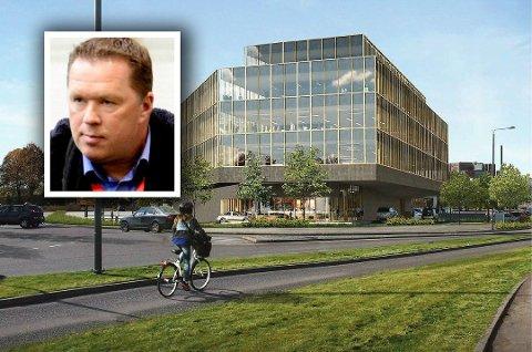 PLANEN: Slik ser utbygger Knut Martin Hegg (bildet) for seg kontorbygget på Kilen. Fylkesmannen har innsigelser mot en femte etasje.