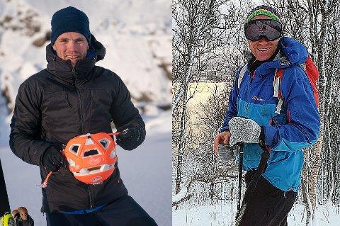 TOPPTURKAMERATER: Martin Andersen (t.v) mener det bare er tilfeldigheter at kameraten og toppturkollega Øystein Stangeland (t.h) ble tatt av snøskred på Skittentind, og ikke noen andre.