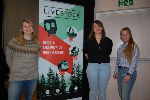 Bilde fra tidligere workshop. Fra venstre: Eline Weidemann Stølan (frivilligsjef), Anne Linn Vingelsgård Shcärer (tidligere festivalsjef) og Tora Trønnes Lilleeggen (booking). Foto: Livestock