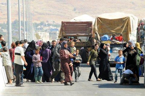 Syriske flyktninger fra Arsal, nær den libanesiske grensen til Syria. Foto: