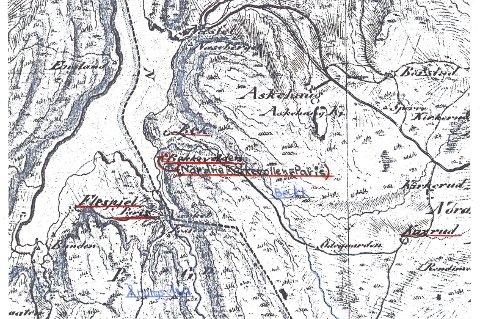 FOLLOS PARIS: Kart fra 1822 som viser Nordre Bekkevollen, eller «Paris» som det ble kalt.