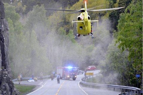 ALVORLIG: En 39 år gammel mann fra Risør ble hardt skadet i ulykken.
