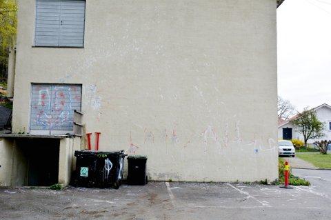 HÆRVERK: Bildene taler for seg selv. Først har noen kastet hvitmaling over veggen, søppeldunkene, døren og parkeringsplassen. To dager etter har veggen igjen blitt vandalisert, denne gangen med rød- og blåmaling. Foto: Christina Tveit