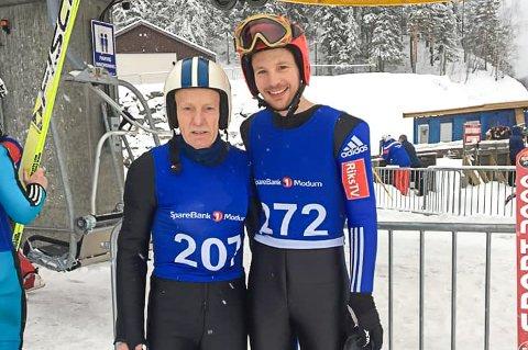 TEAM SØRBØ: Ingebrigt Sørbø (t.v.) og John Egon Sørbø tok medaljer på alle øvelsene de stilte opp på i hopp-VM for veteraner i Vikersund lørdag.