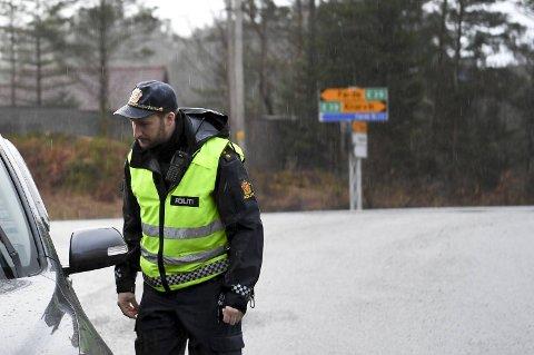 UP-kontroll på E39 i Eikangervåg i Nordhordland mars 2019.