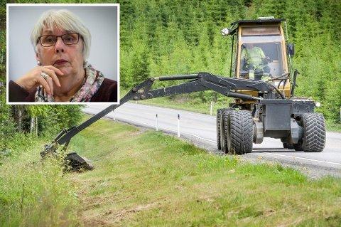FOR TIDLEG: Sølvi Knudsen meiner at Alver kommune bør vente med kantslåtten til seinare på året.