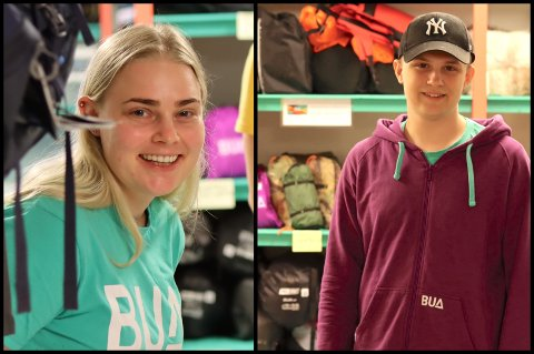 Aurora (24) og Even (19) på jobb hos BUA på Frekhaug.