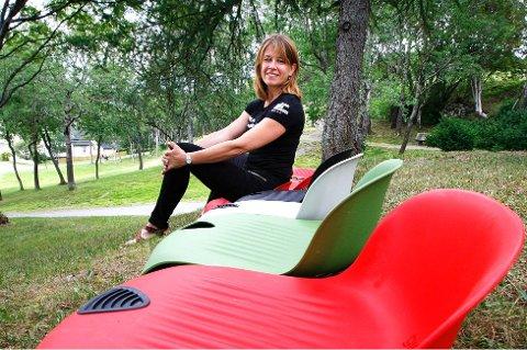 Marianne Texmo (43) lansertr festivalstolen Gigseat i fjor, etter en vellykket lansering i Norwegian Wood- festivalen i Oslo i fjor sommer. Foto: Tom Melby