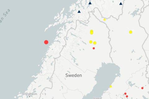 NORSAR har foreløpig lokalisert jordskjelvet til å ha skjedd i havet cirka 40 kilometer vest av Gildeskål.