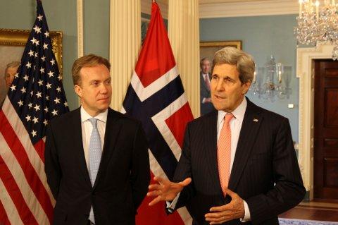 Washington, USA 20150226. Utennriksminister Børge Brende og utenriksminister John Kerry møttes Møte i State Department torsdag 26. februar 2015. Foto: Frode Overland Andersen/UD / NTB scanpix