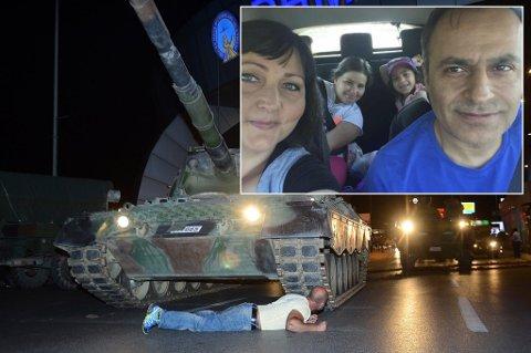 Kjørte vekk: Belinda Wik, Levent İbrahim Sallabas og de to barna deres kjørte  søndag til badebyen Kusadasi , der det ikke er noen tegn til dramatikken som utspilte seg i helga.