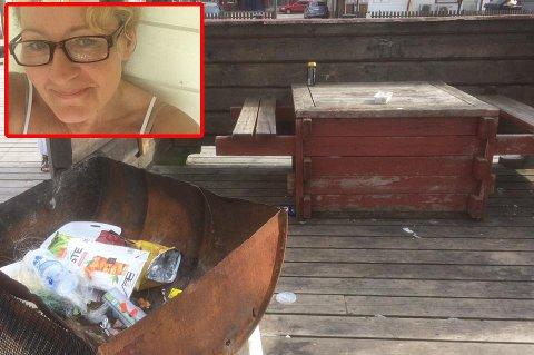 Forsøpling: Mette Jenny Kongsli (innfelt) sier hun blir flau over hvordan det ser ut i Rognan sentrum.
