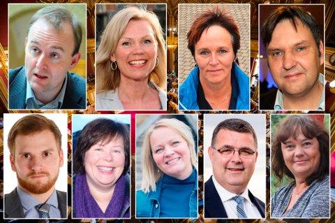 Fra venstre; Eirik Sivertsen (Ap), Åsunn Lyngedal (Ap), Margunn Ebbesen (H), Jonny Finstad (H), Willfred Nordlund (Sp), Siv Mossleth (Sp), Mona Fagerås (SV), Kjell-Børge Freiberg (Frp) og Hanne Dyveke Søttar (Frp.